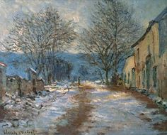 """Snow Effect at Limetz"" by Claude Monet, 1885-1886 ・ Style: Impressionism ・ Genre: cityscape 