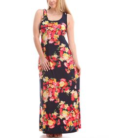 Love this BOLD & BEAUTIFUL Pink & Navy Floral Maxi Dress - Plus by BOLD & BEAUTIFUL on #zulily! #zulilyfinds