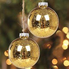 4 Christmas Mercury Ball Ornaments Shatterproof Hanging Tree Decorations Gold #KIStore