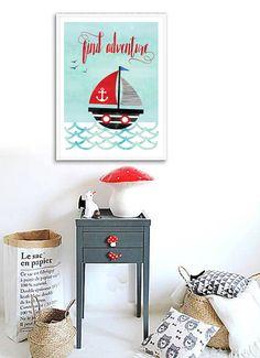 Sailboat Print, Nautical Nursery Decor, Baby Boy Nursery Wall Art, Pirate Ship Print, Aqua Baby Room Art Print Find Adventure Nursery Poster by PrintasticStudio on Etsy https://www.etsy.com/uk/listing/486746093/sailboat-print-nautical-nursery-decor