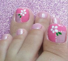 Unas  Uñas Pedicure Designs, Pink Nail Designs, Simple Nail Designs, Pedicure Nails, Mani Pedi, Toe Nail Art, Toe Nails, Toe Polish, Summer Acrylic Nails