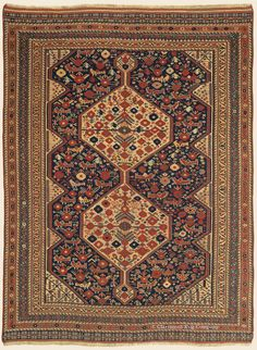 "KHAMSEH ""BIRD RUG"",4' 10"" x 6' 7"" — Circa 1875, Southwest Persian Antique Rug - Claremont Rug Company"