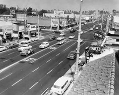1955– View looking north on Van Nuys at Victory Boulevard.  Legible store signs include (R to L):  Moss, Kay Jewelers, Tom McAn Shoes, Sight and Sound, Florsheim Shoes, Oasis, and Hart's Jewelers.
