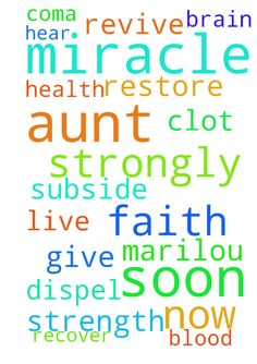 I would like to request a miracle prayer for my Aunt - I would like to request a miracle prayer for my Aunt Marilou who is on coma now. Please pray that the blood clot in her brain will subside or dispel. I would like her to hear our prayers for her and she will have the will to live on strongly. I would to pray that she would revive and recover soon. Give her strength and faith and restore her health soon. Thank you . Amen  Posted at: https://prayerrequest.com/t/uOR #pray #prayer #request…