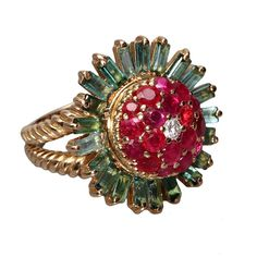 A Tourmaline Ruby Diamond Gold Ring 1960s | From a unique collection of vintage cocktail rings at https://www.1stdibs.com/jewelry/rings/cocktail-rings/