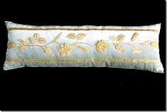 Pillow with European raised gold metallic embroidery, on pale blue velvet  | B. Viz Design | bviz.com