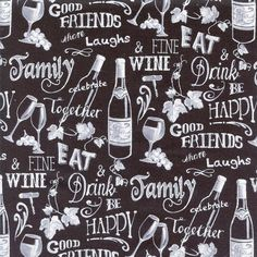Wine Chalkboard Timeless Treasures Cotton by TheFabricPalette Happy Friends, Best Friends, Timeless Treasures Fabric, Chalkboard, Wine Glass, Cotton Fabric, How To Make, Crafts, Etsy