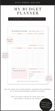 BUDGET PLANNER- PRINTABLE – INSTANT DOWNLOAD - PRODUCTIVITY - FINANCE PLANNER - Miss Poppy Design