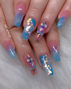 Neon Nail Designs, Cute Nail Art Designs, Nail Polish Designs, Beautiful Nail Designs, Rhinestone Nails, Bling Nails, Swag Nails, Stiletto Nails, Neon Nails