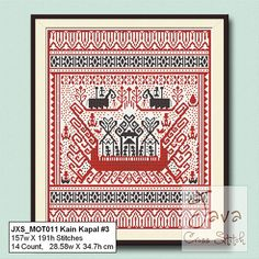 Kain Kapal 3 Ship Cloth Traditional Lampung Motif PDF Cross stitch pattern #shipcloth #kristikuntukindonesia #crossstitch4indonesia #kainkapal #lampung #tapis #tenuntapis