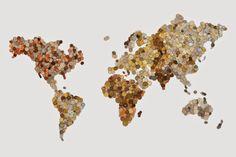 Mapa del mundo hecho con monedas