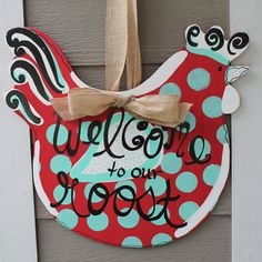 Polka+Dot+Rooster+Wooden+Door+Sign+Welcome+by+PatrioticPeacockShop,+$50.00