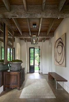 Driscoll Design Group - entrances/foyers - wood beams, exposed wood beams, exposed beams ceiling, exposed wood beams ceiling, rustic wood be. Style At Home, Modern Rustic, Modern Farmhouse, Modern Bench, Rustic Wood, Rustic Chic, Rustic Contemporary, Modern Decor, Rustic Decor