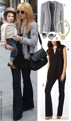 Rachel Zoe's tweed jacket and flare leg jeans celebrity look for less