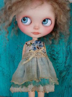 Blythe doll dress  - Moody blue forget-me-nots #2- embroidered grungy chic outfit OOAK tea dyed