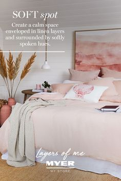 Create a calm space enveloped in linen layers and softly spoken hues, all from Myer. Romantic Home Decor, Gothic Home Decor, Cute Home Decor, Indian Home Decor, Retro Home Decor, Fall Home Decor, Home Decor Bedroom, Cheap Home Decor, Country House Interior