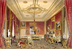 The Queens Private Sitting Room, Windsor Castle, one of the most famous paintings by James Baker Pyne Interior Rendering, Interior Architecture, Interior Design, Palais De Buckingham, Castle Rooms, Most Famous Paintings, Famous Castles, Royal Residence, Casa Real