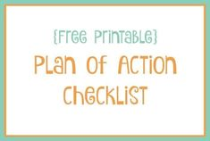 {Free Printable} Today's Plan of Action checklist…. Frugal Family, Financial Tips, Happy Planner, Getting Organized, Free Printables, Im Not Perfect, About Me Blog, Action, How To Plan