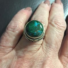 Chrysocolla Ring, sz 7 First things first, how beautiful is this stone? The perfect mix of greens and blues set in an artisan crafted Sterling silver setting. Hand crafted. Sz 7, beautiful beautiful beautiful  (40) Jewelry Rings