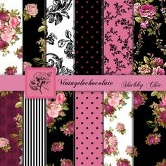 Hot Pink Floral Digital Papers Pink and by VintageLeChocolate