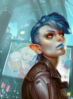 Shadowrun by Grobi-Grafik Female/ Blue Hair/ Punk/ Goth/ Fantasy/ Leather Jacket Cyberpunk 2077, Cyberpunk Kunst, Cyberpunk Girl, Cyberpunk Tattoo, Cyberpunk Fashion, Character Concept, Character Art, Concept Art, Character Design