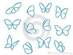 Vector of 'Butterflies silhouettes for symbols, icons and tattoos design' - Good butterfly tattoo shape inspiration Easy Butterfly Drawing, Simple Butterfly Tattoo, Butterfly Outline, Butterfly Sketch, Butterfly Design, Butterfly Tattoos, Butterfly Illustration, Butterfly Tattoo Meaning, Cartoon Butterfly
