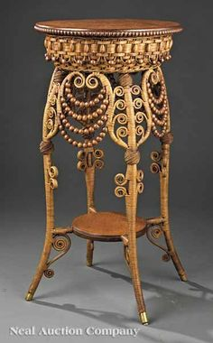 "American Oak, Wicker and Rattan Fern Stand, c. 1885, labeled ""Heywood Brothers"""