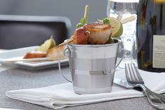 Mini Stainless Steel Pail: So elegant, so tiny … you'll want to feature your most sophisticated appetizers, snacks and sides in this!