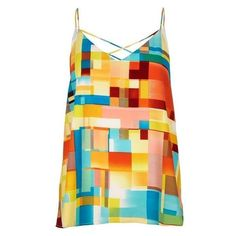 River Island Yellow print cami top ❤ liked on Polyvore featuring tops, yellow cami, yellow camisole, cami top, yellow tank top and v neck tank