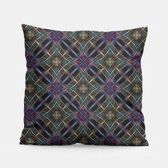 A Celtic feel lattice pattern design in blue, yellow, deep pink and green on black.