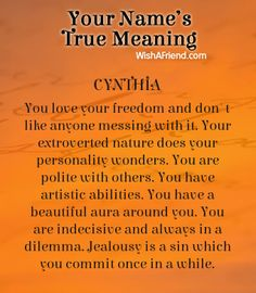 Name true meaning of Cynthia