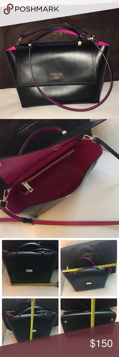 14c974f18c9 ♤️Kate Spade Arbour Hill Leather Crossbody Bag♤ ♤️Kate Spade Arbour Hill  Leather Crossbody Bag♤ Stunning smooth black leather with hot pink ...