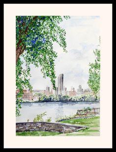 Albany Skyline from Rensselear by JCParkerFineArt on Etsy, $55.00