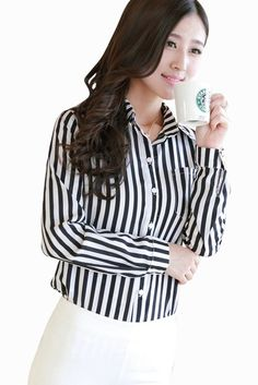 Retro Striped Button Up Shirt In Black #10-30 #1970s #app-women #meta-filter-color-black #meta-filter-size-2xl #meta-filter-size-3xl #meta-filter-size-l #meta-filter-size-m #meta-filter-size-s #meta-filter-size-xl #shirts-blouses 20$