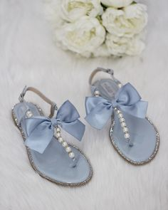 41fd027cfb73dc Women   Kids Wedding Pearl Sandals - LIGHT BLUE Patent Pearl Rhinestones  sandals with oversized bow. For bride