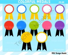 Colorful Medals Clip Art for Personal and Commercial Use. from NRC Design Studio1 on TeachersNotebook.com - (12 pages) - Instant download colorful medals clipart for personal and commercial use.