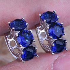 """925 Sterling Silver Blue Huggie Earrings Candy Blue """"Sapphire"""" 925 Sterling Silver Huggie Hoop Earrings Jewelry Earrings"""