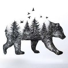 Bear Forest Tattoo Design