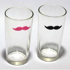 Marcador de Copos e Taças em Silicone Bigode Mustache Para taças Kit com 8 peças