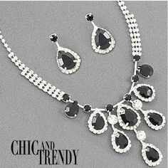CLEARANCE HIGH QUALITY BLACK CRYSTAL WEDDING FORMAL NECKLACE JEWELRY SET TRENDY #Unbranded