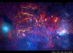 Milky Way Galaxy - This is one of the most detailed images to date of the heart of the Milky Way. The galaxy's center is within the white spot near the right edge of the photo. NASA released the image Nov. 10, 2009 to mark the 400th anniversary of the telescope. It is a composite of images from three observatories: the Hubble and Spitzer space telescopes and the Chandra X-ray Observatory.