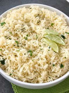 Instant Pot cilantro lime rice is so fluffy & full of lime and cilantro flavor, and is quick & easy Instant Pot recipe. Just a few simple ingredients! Side Dish Recipes, Pasta Recipes, Salad Recipes, Cooking Recipes, Yummy Recipes, Chipotle Lime Rice, Cilantro Lime Chicken, Crockpot Side Dishes, Rice Side Dishes
