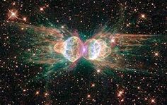 The Ant Nebula, a cloud of dust and gas, technical name is Mz3.  The Nebula lies within our galaxy between 3,000 and 6,000 light years from earth.  Photo taken by the Hubble Telescope Photos