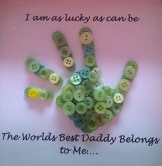 Child's buttoned hand print for their daddy. on Etsy, £12.00