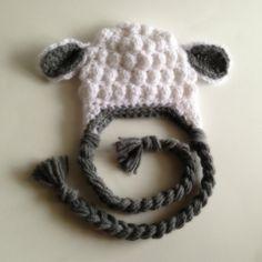 Little Lamb Crochet Hat. Photography Prop, Newborn, Free Shipping