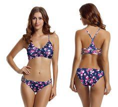 ac800b3a0d16b zeraca Women s Strap Side Bottom Halter Racerback Bikini Bathing Suits  (FBA) Racerback Bikini