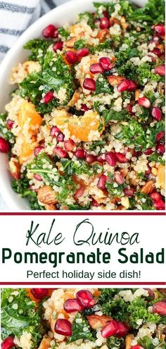 Easy and healthy Kale Quinoa Pomegranate Salad with citrus vinaigrette is a refreshing meal or beautiful side dish for any feast this holiday season! It's packed with flavor, perfect for lunch or dinner, and ideal for easy meal prep! Spinach Salad Recipes, Chicken Salad Recipes, Easy Salads, Healthy Salad Recipes, Kale Quinoa Salad, Chicken Quinoa Salad, Farro Salad, Lentil Salad, Arugula Salad