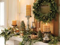 Love the idea of dressing up your mantel all winter, but can't imagine it without the usual stockings, mini trees and other festive knickknacks? Go transitional. Create a base of winter greenery and lights, then layer on the Christmas. After the holidays, switch out the Christmas music candles for plain ones and pack away the trees and stockings. Leave the flocked evergreen garland, shiny votives, crystal and silver candlesticks and even the boxwood wreath for a  fantastically decorated…