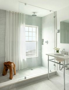 """Shower curtain in front of the window.- Hehe Ok, maybe I should start to make a board that is also called KMAC Dream Casa because this is the """"someday"""" post for your upstairs bathroom. But it was just too pretty to not share, right!?"""