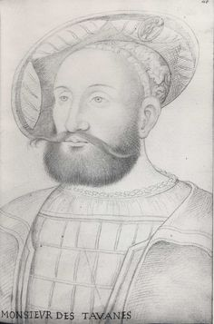 Monsieur de Tavannes,. ..c.1564....  Jean Clouet, Follower of,  ... Black, red, and yellow chalks.  Sheet: 287 x 198 mm...  Inscribed in brown ink at lower left: MONSIEUR DES TAVANNES; and at upper right: 46